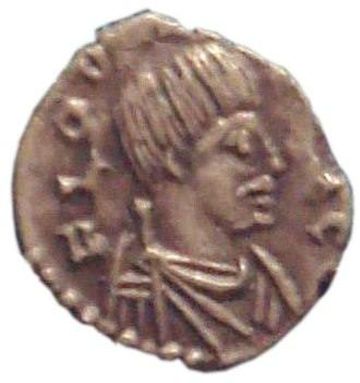 "Odoacer - Coin of Odoacer, Ravenna, 477, with Odoacer in profile, depicted with a ""barbarian"" moustache."