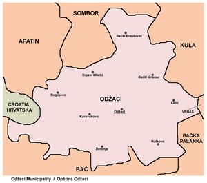 Karavukovo - Map of Odžaci municipality, showing location of the village