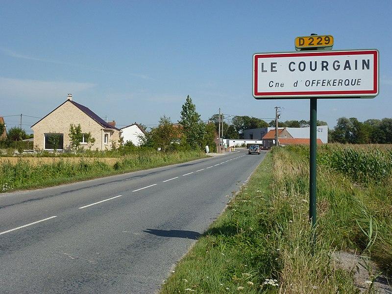 Offekerque (Pas-de-Calais) city limit sign Le Courgain