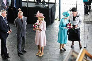 Camilla, Duchess of Cornwall - Official opening of the Fourth Assembly at the Senedd in Cardiff, Wales. From left to right: Carwyn Jones, the Prince of Wales, the Duchess of Cornwall, the Queen and Dame Rosemary Butler, 7 June 2011