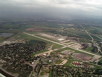 Bellevue, Nebraska - Aerial view of Offutt Air Force Base with Bellevue in foreground