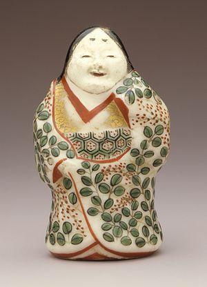 Banko ware - Banko ware Okame female figurine, Edo period, 19th century