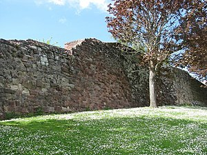 Isca Dumnoniorum - City walls, Exeter. Some of the stonework is medieval.