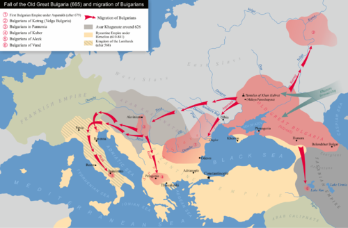 The Bulgarian colonies after the fall of Old Great Bulgaria in the 7th century. Old Great Bulgaria and migration of Bulgarians.png