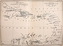 Map of the Caribbean, 1893. Aruba, Curaçao and Bonaire are shaded in red.