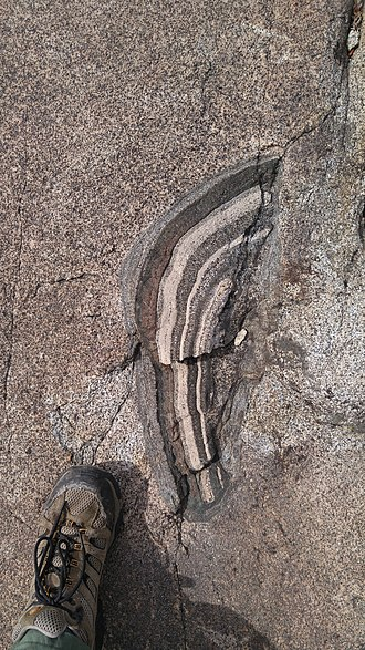 Xenolith - Xenolith in granite near Donner Pass, California (foot for scale)