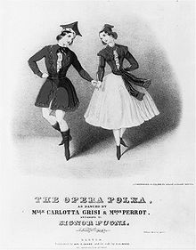Sketch on a title page of a music sheet titled The Opera Polka. The sketch is a pair of dancers, holding hands and looking at each other. The male in a tunic, tights and poined hat, and the female wearing a shin-high dress with a tunic.
