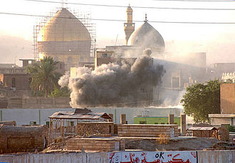 Battle of Samarra (2004) - Smoke rises from near the Golden Mosque during the battle of Samarra, 1 October 2004.