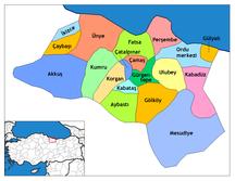 Provincia di Ordu-Suddivisione amministrativa-Ordu districts