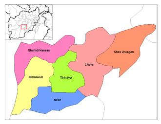 Battle of Khaz Oruzgan - Map showing Khas Uruzgan district in Oruzgan province where the battle took place near the village of Khaz Oruzgan