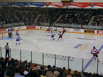 "Ottawa 67's - Ottawa playing with its ""barberpole"" jerseys."