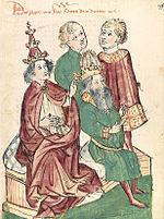 Otto III wird von Papst Gregor V. zum Kaiser gesalbt