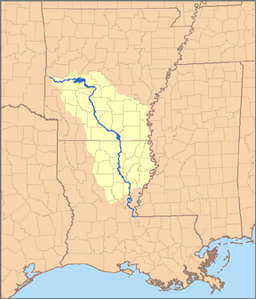 Map of the Ouachita River watershed. The Ouachita joins the Tensas River near Jonesville, Louisiana to form the Black River (Louisiana).