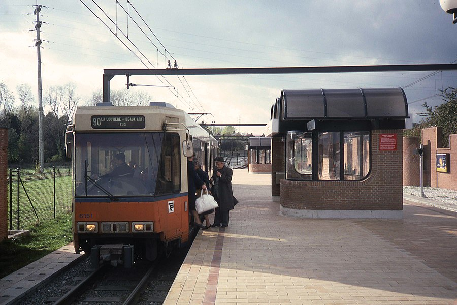 SNCV tram line 90 in Pétria premetro station in 1986.