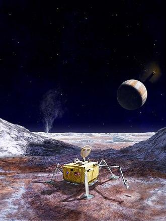 Europa Lander (NASA) - Vision for the lander on Europa with Jupiter in the background