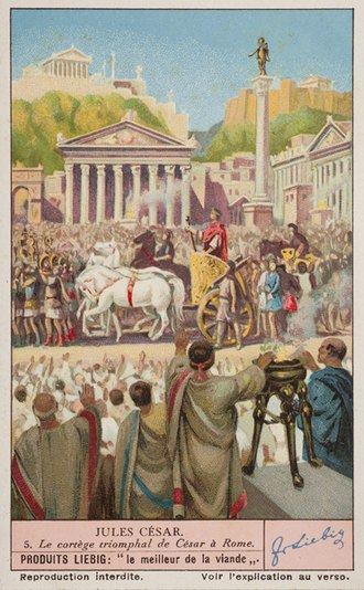 Tyrian purple - A twentieth-century depiction of a Roman triumph celebrated by Julius Caesar. Caesar, riding in the chariot, wears the solid Tyrian purple toga picta. In the foreground, two Roman magistrates are identified by their toga praetexta, white with a stripe of Tyrian purple.