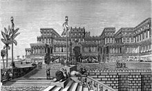 Wood engraving of the Palace of Sennacherib