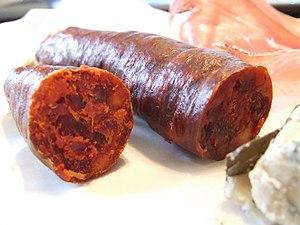 English: chorizo sausage. Español: Chorizo.