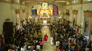 Holy Week in the Philippines - A priest blesses palms on Palm Sunday in the church of Plaridel, Bulacan (2012).