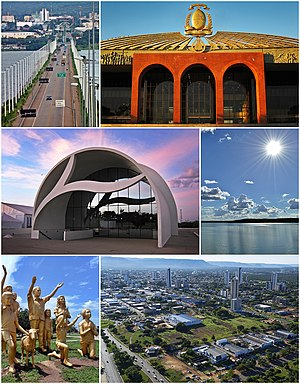 Palmas, Tocantins - Top left:A monument of Coluna Prestes in the Sunflower Square, Top right:Sunflower Square (Graciosa Beach), Center:A view of Palmas Tocantins Bridge and Palmas, Bottom left:Ponte do Fernando Henrique Cardoso (Fernando Henrique Cardoso Bridge) and Tocantins River, Bottom right:Palacio Araguaia (Araguaia Palace)