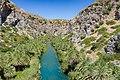 Palms on both sides of the river Kissano Faraggi in Kourtaliotiko Gorge on Crete, Greece.jpg