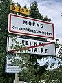 Panneaux entrée Moëns sortie Ferney Voltaire Prévessin Moëns 2.jpg