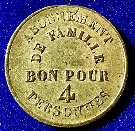 Admission token Theatre Comte, passage Choiseul, for a family of 4, reverse. Paris, France, Admission Jeton Token Theatre Comte, Passage Choiseul, ND (1827 - 1846), reverse.jpg