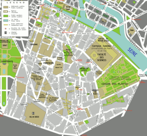 Boulevard Saint-Michel - Map of the 5th arrondissement of Paris showing the Boulevard Saint-Michel (on the left).