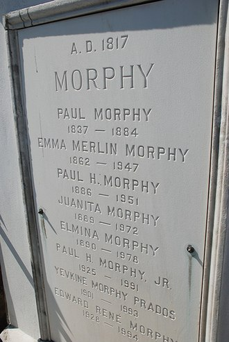 Paul Morphy - Morphy's gravestone just outside the French Quarter, New Orleans, Louisiana, U.S.