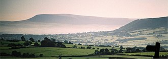 Pendle witches - Pendle Hill from the northwest. On the right is the eastern edge of Longridge Fell, which is separated from Pendle Hill by the Ribble valley.