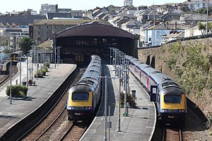 Penzance railway station - Two London services with shorter local trains behind