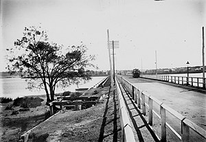 The Causeway - The second Causeway with a tram, viewed from the Perth side.