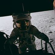 Pete Conrad on LM ladder, Apollo 12