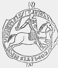 Sketch of a medieval seal showing a mounted knight, sword unsheathed, charging towards the right