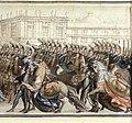 Peter III of Russia's burial (cropped)-riderless horses.jpg