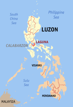 Map of the Philippines with Laguna highlighted