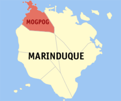Map of Marinduque with Mogpog highlighted