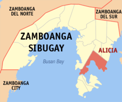 Map of Zamboanga Sibugay showing the location of Alicia.