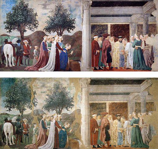 Piero della Francesca,Adorazione della Croce e incontro tra Salomone e la Regina di Saba (parete destra), affresco (prima e dopo il restauro), Basilica di San Francesco, Arezzo