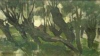 Piet Mondriaan - Willow grove, trunks leaning left II - A351 - Piet Mondrian, catalogue raisonné.jpg