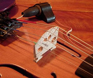 Electric violin - Acoustic-electric violin bridge with piezoelectric element inlay