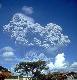 Mount Pinatubo - The eruption column of Mount Pinatubo on June 12, 1991, three days before the climactic eruption.
