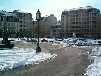 Place des Martyrs, Luxembourg - Place des Martyrs in winter