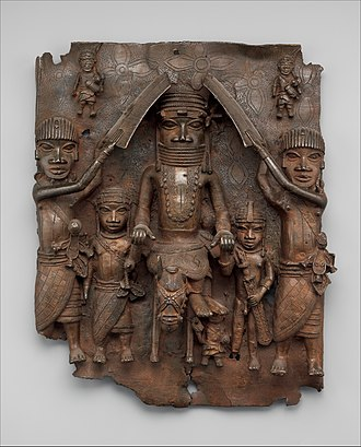 Oba of Benin - An Oba on horseback with attendants from 16th century