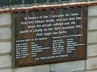 RAF Elsham Wolds - Plaque adjacent to Ulceby War Memorial
