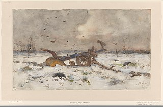 Plow on snowy field