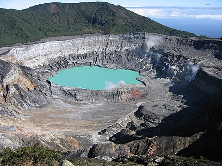 Poas Volcano Crater is one of the country's main tourist attractions. Poas crater.jpg