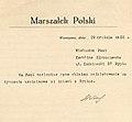 Podziękowanie od Marszałka Józefa Piłsudskiego za życzenia urodzinowe od dzieci z Rypina złożone w formie pisemnej na ręce Karoliny Kłobuszewskiej.jpg