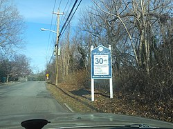 Speed limit and other regulations for the Village of Poquott, as seen from Washington Street.