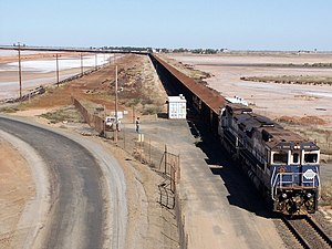 BHPIO iron ore train arriving at Port Hedland,...